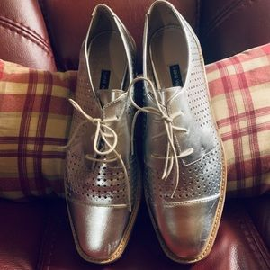 Nine West Silver Lace-up Oxfords
